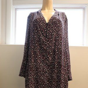 Gerard Darel 100% Silk Front Zip V-Neck Dress (XL)